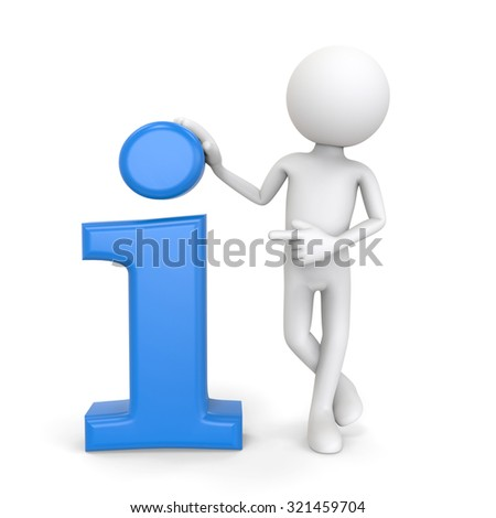 3d character with info icon, isolated on white background - stock photo