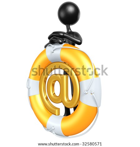 3D Character With Lifebuoy Email