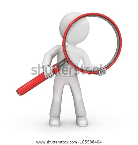 3D character with magnifying glass - stock photo