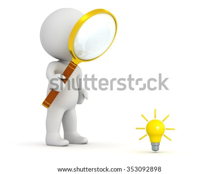 3D character with magnifying glass looking at a very small light bulb idea. Isolated on white background.  - stock photo