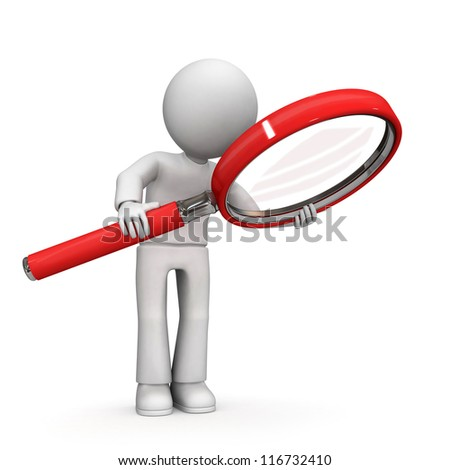 3D character with magnifying glass on white background - stock photo