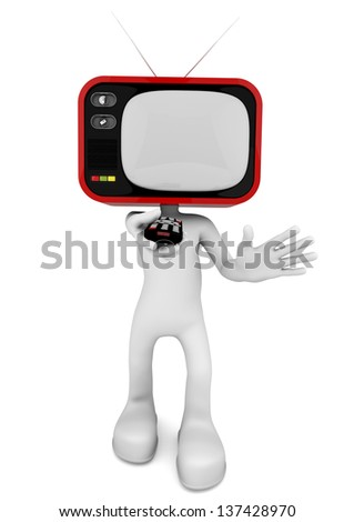 3d character with old TV head making changing channels with the remote control - stock photo