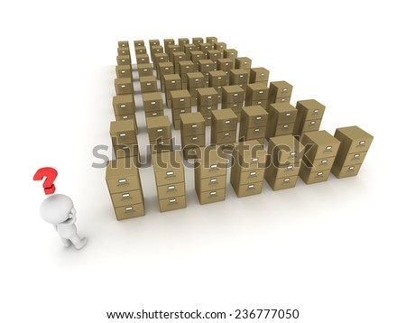 3D Character with Question Symbol above His Head, Looking at Rows of Archiving Cabinets - stock photo