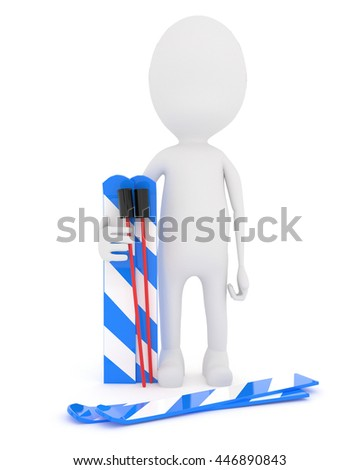 3d character with ski equipments and stick concept in white isolated background