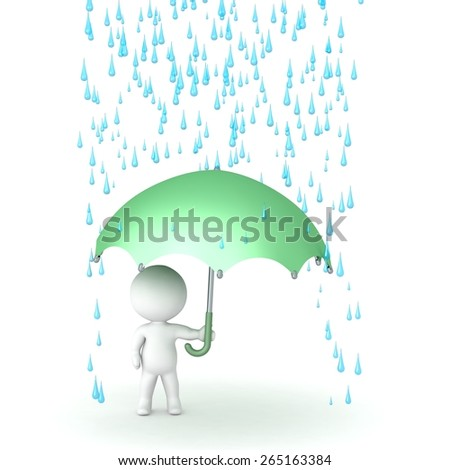 3D Character with Umbrella and Rain above  - stock photo