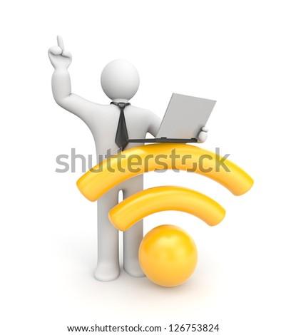 3d character working on laptop. Wifi metaphor - stock photo