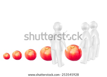 3D characters and different sized apples as genetic engineering concept - stock photo