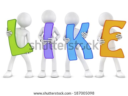 3d characters holding letters forming the word like  - stock photo