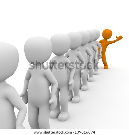 3D characters stand in a queue with a orange man. - stock photo