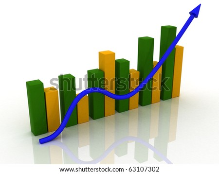 3D chart, Business Graph with arrow showing profits and gains - stock photo