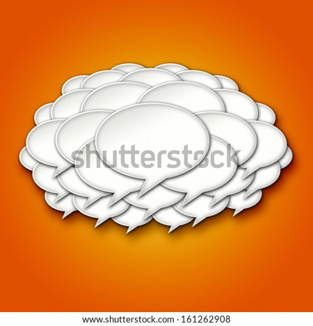 3D Chat Bubble Storm Cloud on Orange Gradient Background - stock photo