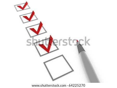 3d check box red pen isolated on white background - stock photo