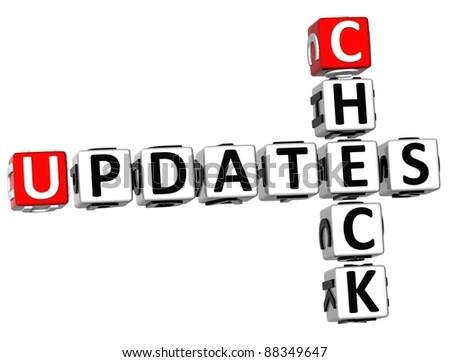 3D Check Updates Crossword on white background - stock photo