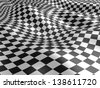3d checkered flag texture. - stock photo