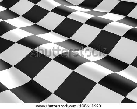 3d checkered flag texture. - stock photo