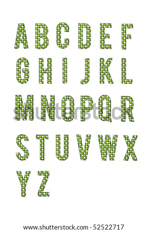 2D checkered letters are hot green and outlined in black.  Letters A to Z fill page with white background.