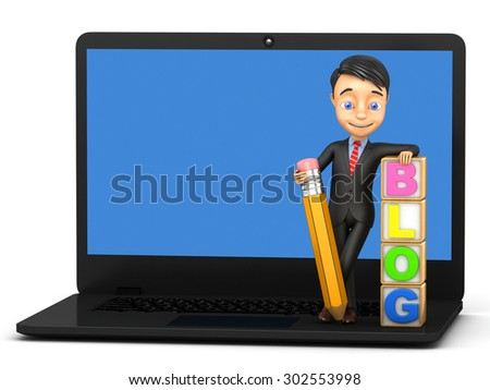 3d cheerful blogger with a pencil - stock photo