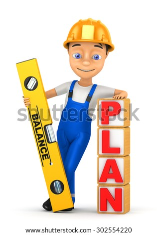 3d cheerful builder on a white background - stock photo