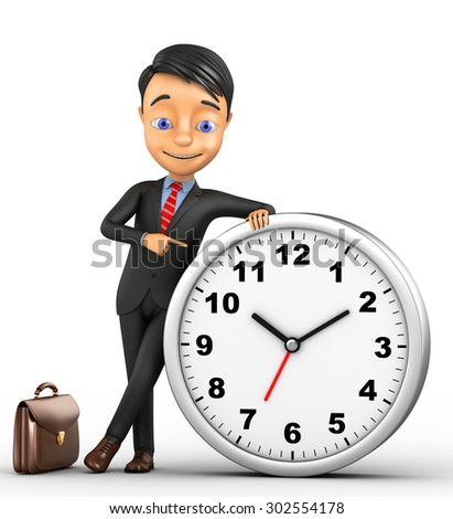 3d cheerful businessman with a clock on a white background - stock photo