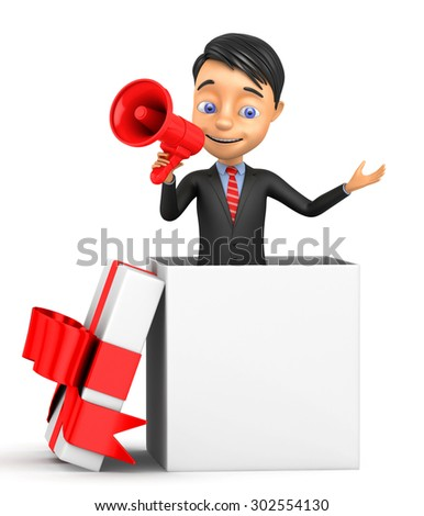 3d cheerful businessman with megaphone - stock photo