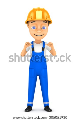 3d cheerful worker in a hard hat on a white background - stock photo