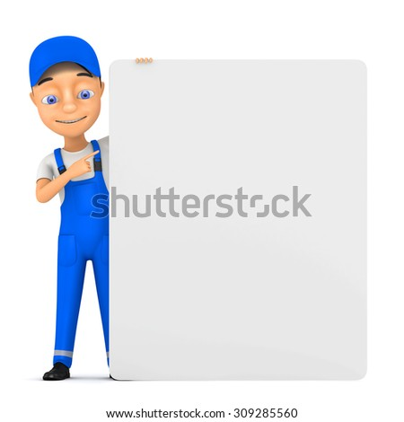 3d cheerful worker with billboard - stock photo