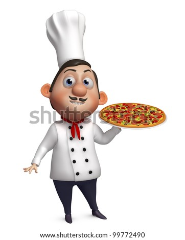 3d chef with a pizza - stock photo