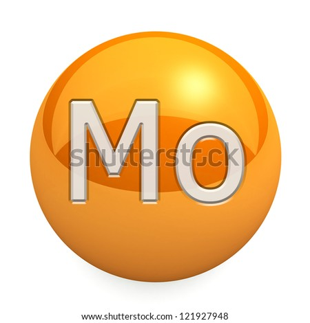 3D chemical element Mo. Button, icon. On a white background - stock photo