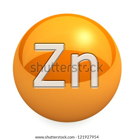 3D chemical element Zn. Button, icon. On a white background