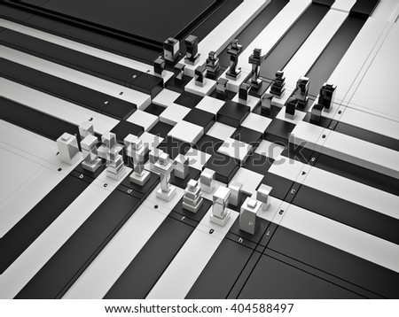 3d chess board with figures. The concept design of futuristic chess figures and checkerboard.