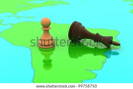 3D chess pawn and king concept on a world map - stock photo