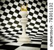 3d chess queen  on a white and black cube background - stock vector