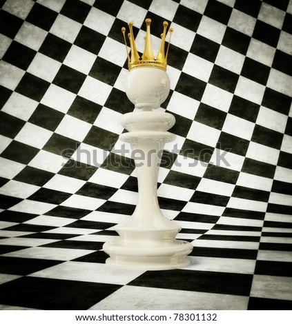 3d chess queen  on a white and black cube background - stock photo