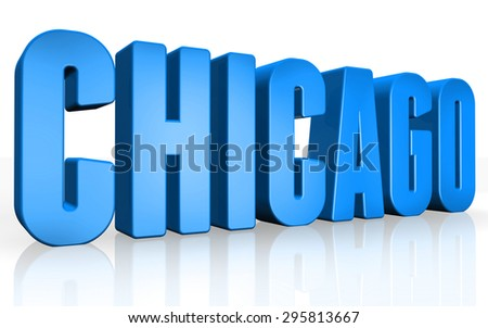 3D Chicago text on white background