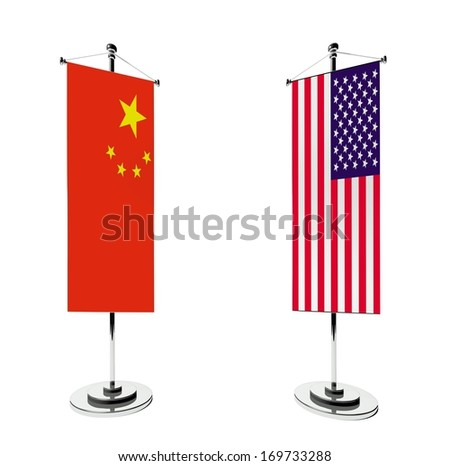 3d Chinese and American table flag isolated on white - stock photo