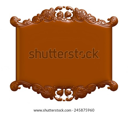 3D chocolate vintage border frame engraving at isolated white background with retro ornament pattern in antique baroque style decorative design invitation card  - stock photo