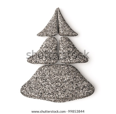 3d chrismas tree made of granite spa stones - stock photo