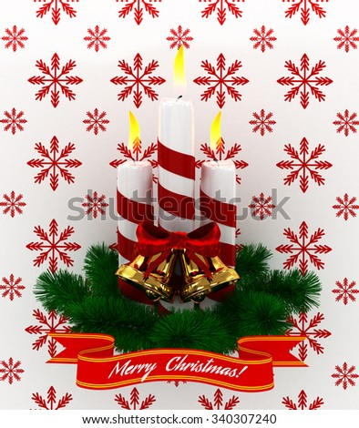 3D Christmas Burning candles with golden bells and sprigs of christmas tree isolated on white-red snow background - stock photo