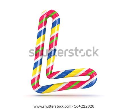 3D Christmas candy alphabet isolated - stock photo