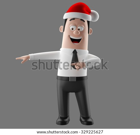 3D christmas cartoon character, man in a suit and tie with santa claus hat