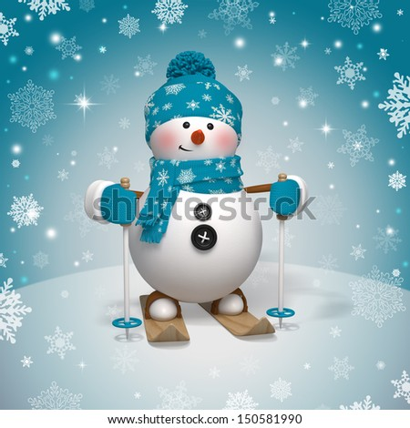 3d christmas cartoon character skiing snowman stock photo