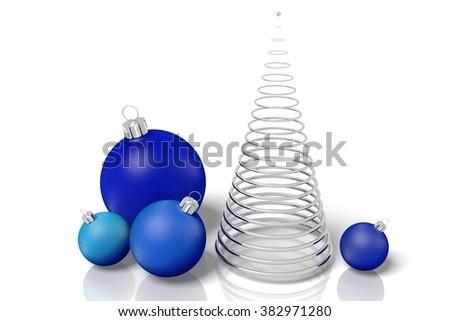 3D Christmas decoration - Christmas tree and glass balls. - stock photo