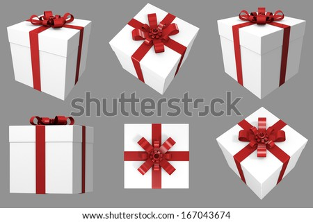 3D Christmas Gift. White Box with Red Satin Ribbon. Multiple Angles / Views - stock photo