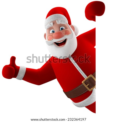 3D christmas happy Santa Claus, Christmas supplement, decoration, illustration showing thumbs up isolated on white background, pointing on white blank paper