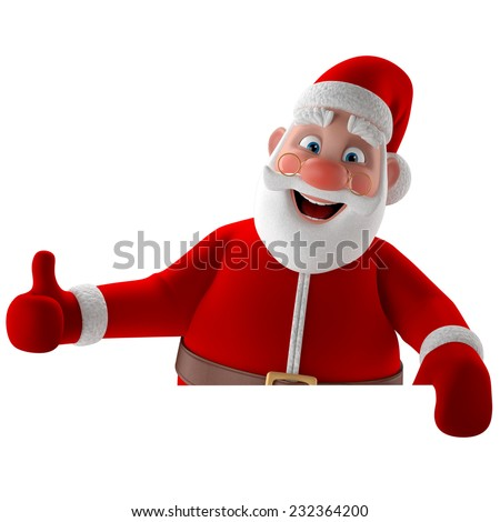 3D christmas happy Santa Claus, Christmas supplement, decoration, illustration showing thumbs up isolated on white background, pointing on white blank paper - stock photo