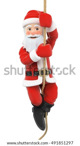 3d christmas people illustration. Santa Claus climbing a rope. Isolated white background.