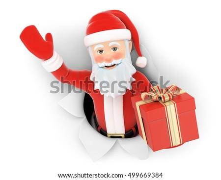 3d christmas people illustration. Santa Claus leaving a hole in the paper with gift. Isolated white background.