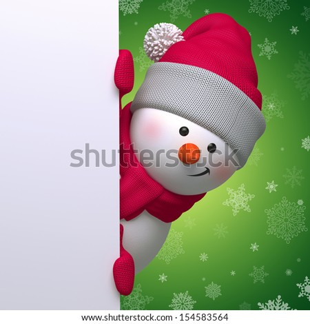 3d Christmas snowman looking at camera, holding blank page