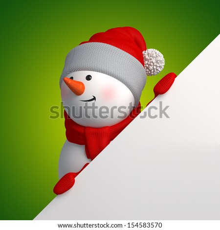 3d Christmas snowman looking up, holding blank page corner - stock photo