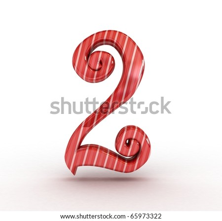 3D Christmas sugar number  isolated